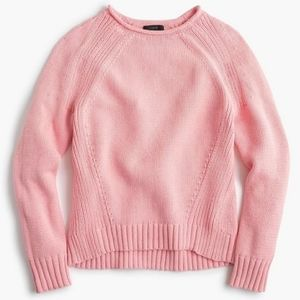 J. Crew, pink, knit, cotton, rolled neck, sweater